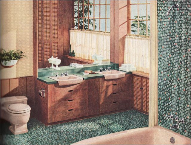 1957 Briggs Bathroom with Mosaic Tile Project Bathroom 1950s