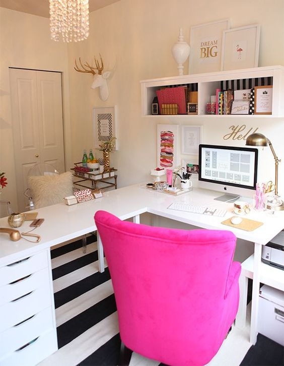 L Shape Desk Ikea Hack Gold White And Magenta Office Decor Feminine Home Offices Home Office Decor Home Office Design