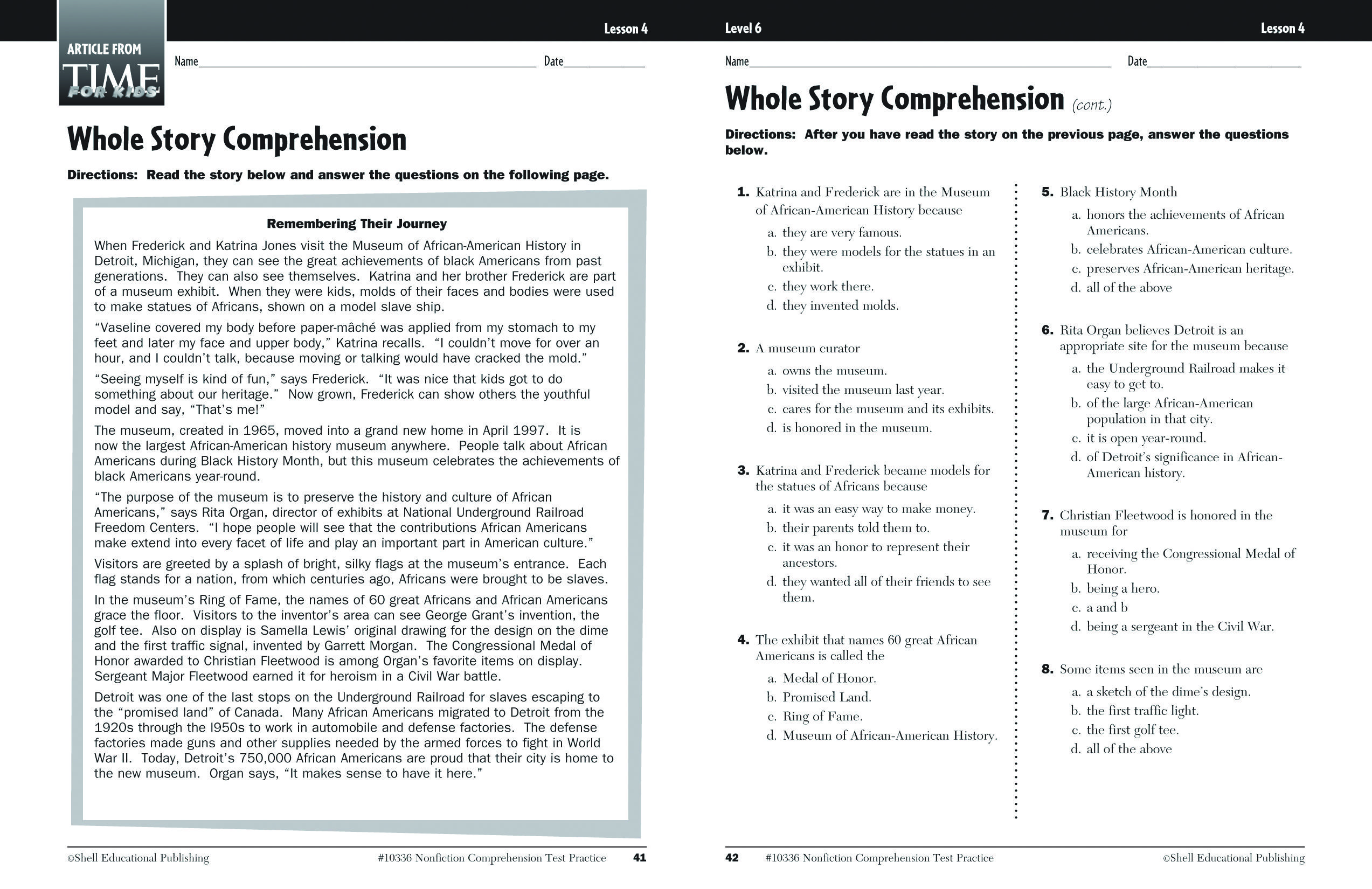 Read a sample activity from our Nonfiction Comprehension Test ...
