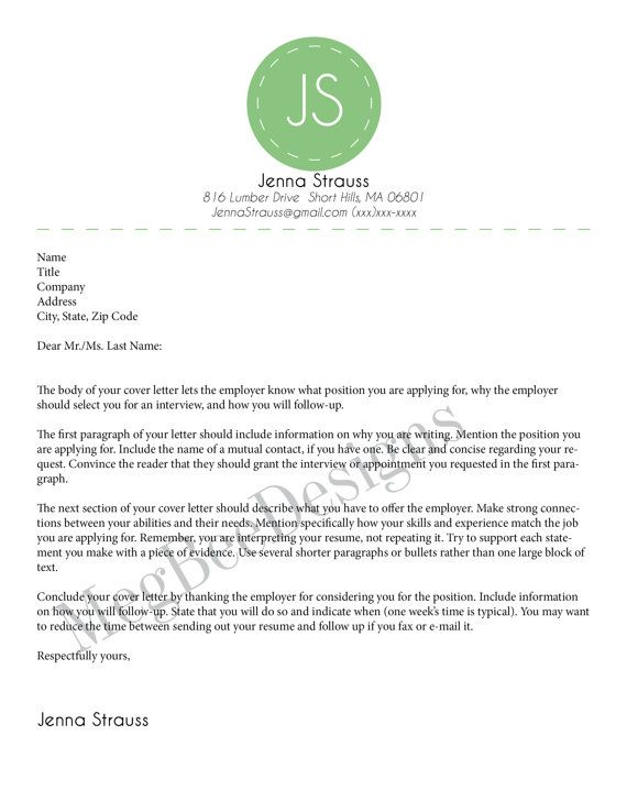 Cover Letter to Match Resume by MegBeeDesign on Etsy, $800 - follow up letter after sending resume sample