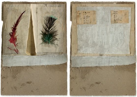 R.Rauschenberg collage_pictographs-and-feathers-open