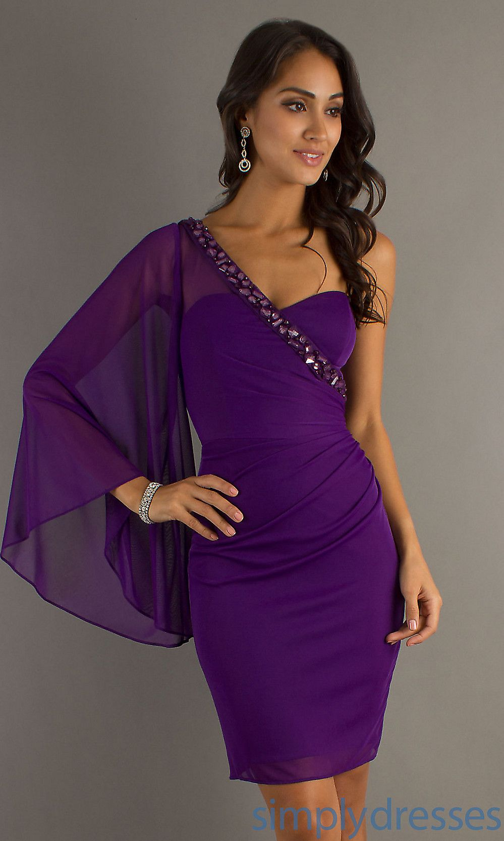 purple cocktail dresses for weddings | Short one shoulder dress ...