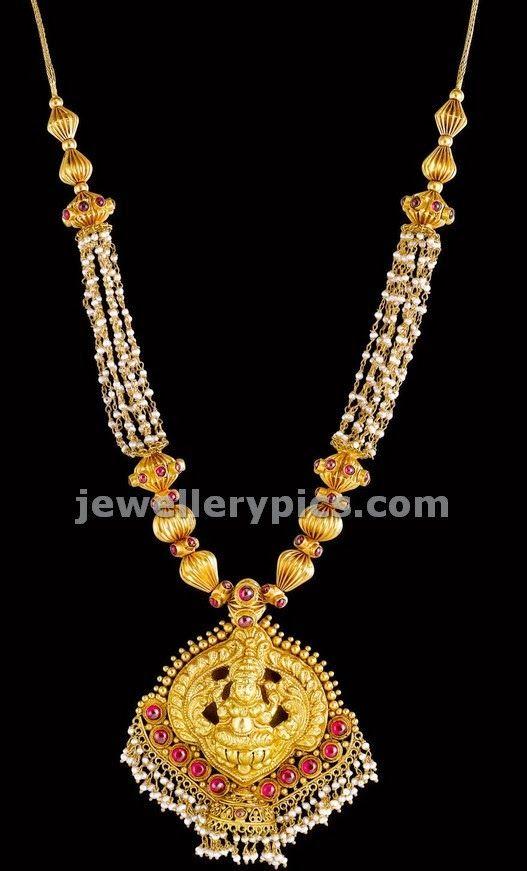 Besera Pearls chain with Lakshmi locket - Latest Jewellery Designs
