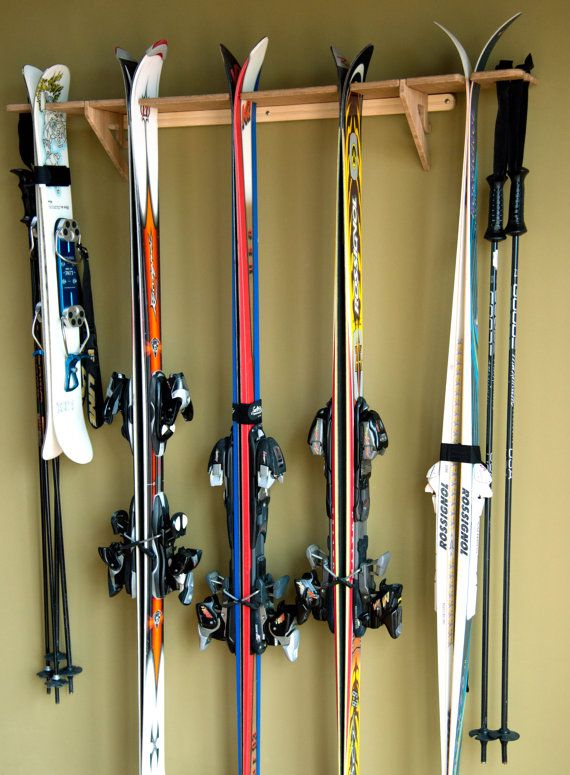 Vertical Ski Wall Rack Bamboo Wall Mounted Indoor And Garage