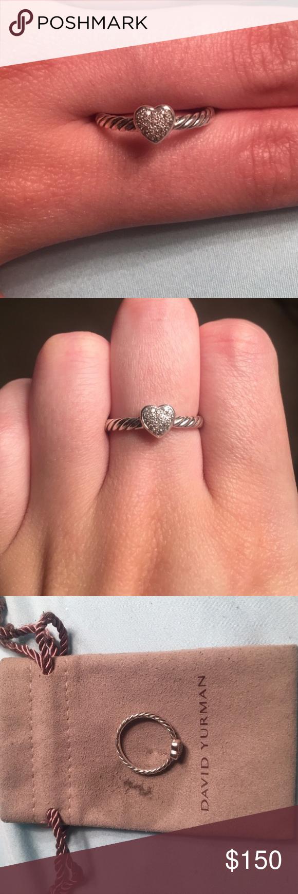 7a7b5dcf700b73 Authentic David Yurman Petite Pave Ring Authentic David Yurman petite pave  diamond heart ring. 0.06 total carat weight. All diamonds intact.