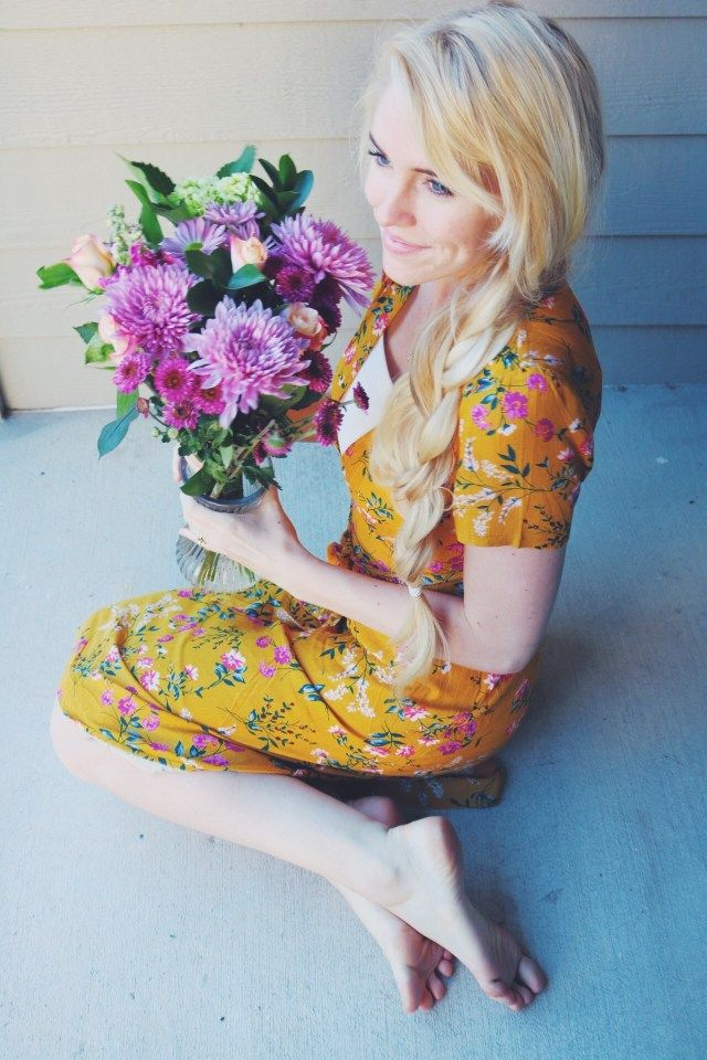 Yellow floral dress and purple flowers blondeography yellow floral dress and purple flowers mightylinksfo