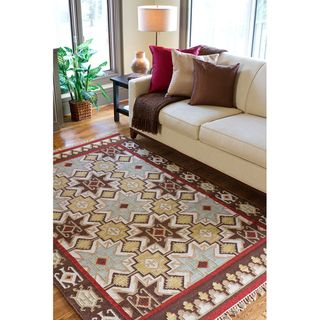 Hand Woven Tan Red Southwestern Aztec Britton Hard Twist Wool Rug 8 X 11 Ping Great Deals On 7x9 10x14 Rugs