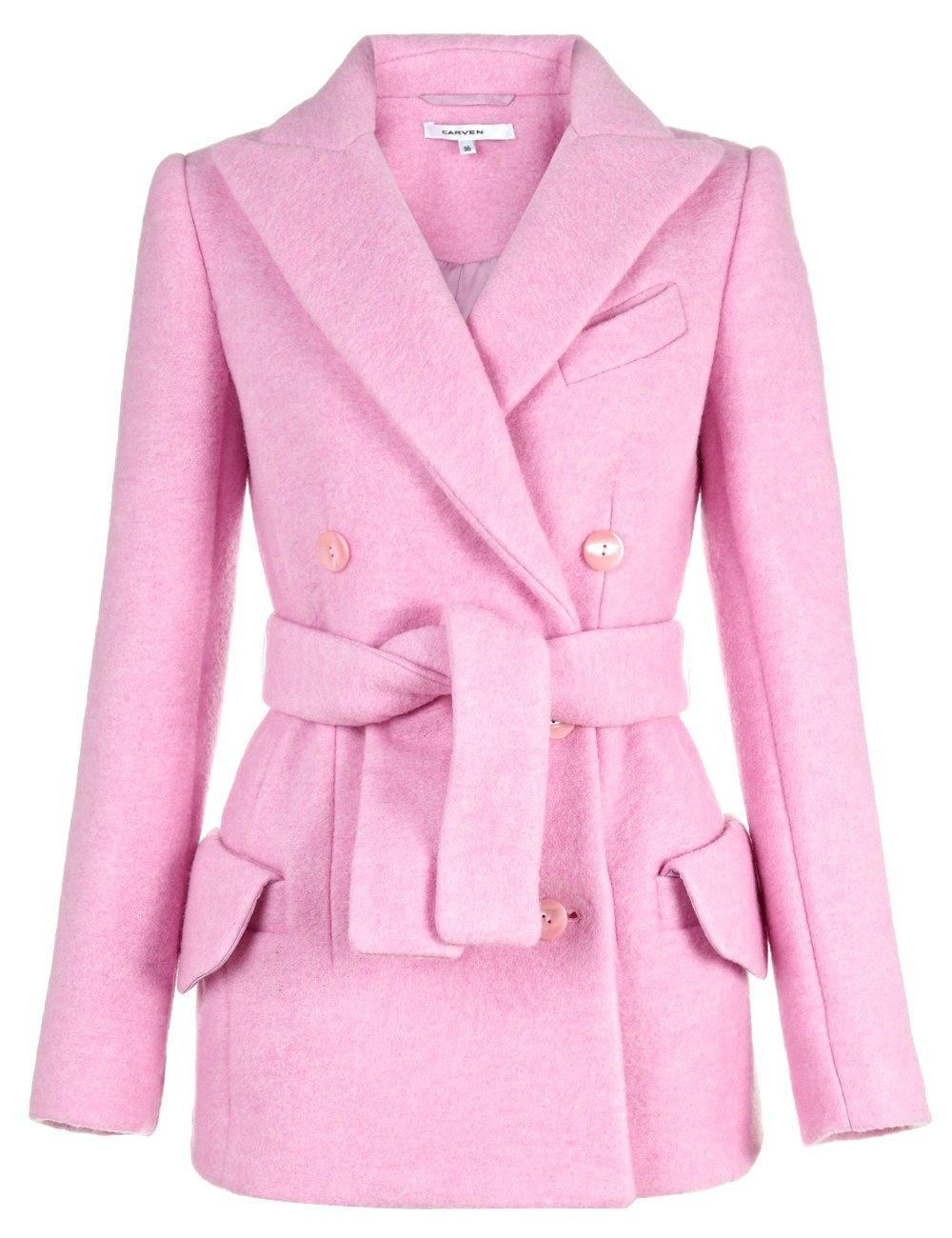 Pink Crushed Wool Jacket | Carven | Avenue32 | Jackets | Pinterest ...