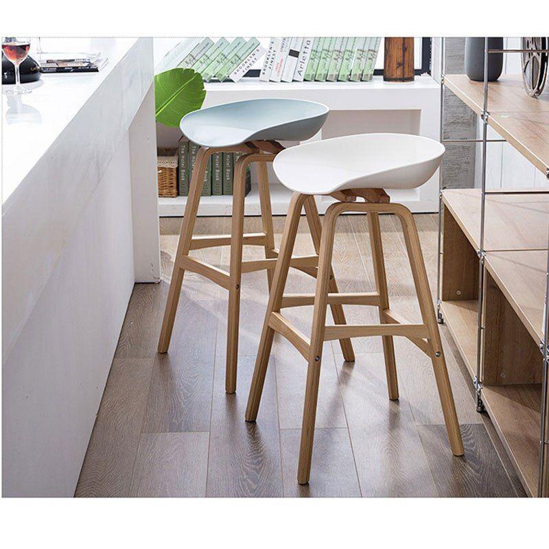Minimalist Modern Design Solid Wood Pp Plastic Bar Chair Northern Wind Fashion Creative Denmark Counter Stool Popular Furniture Bar Chairs Counter Stools Stool