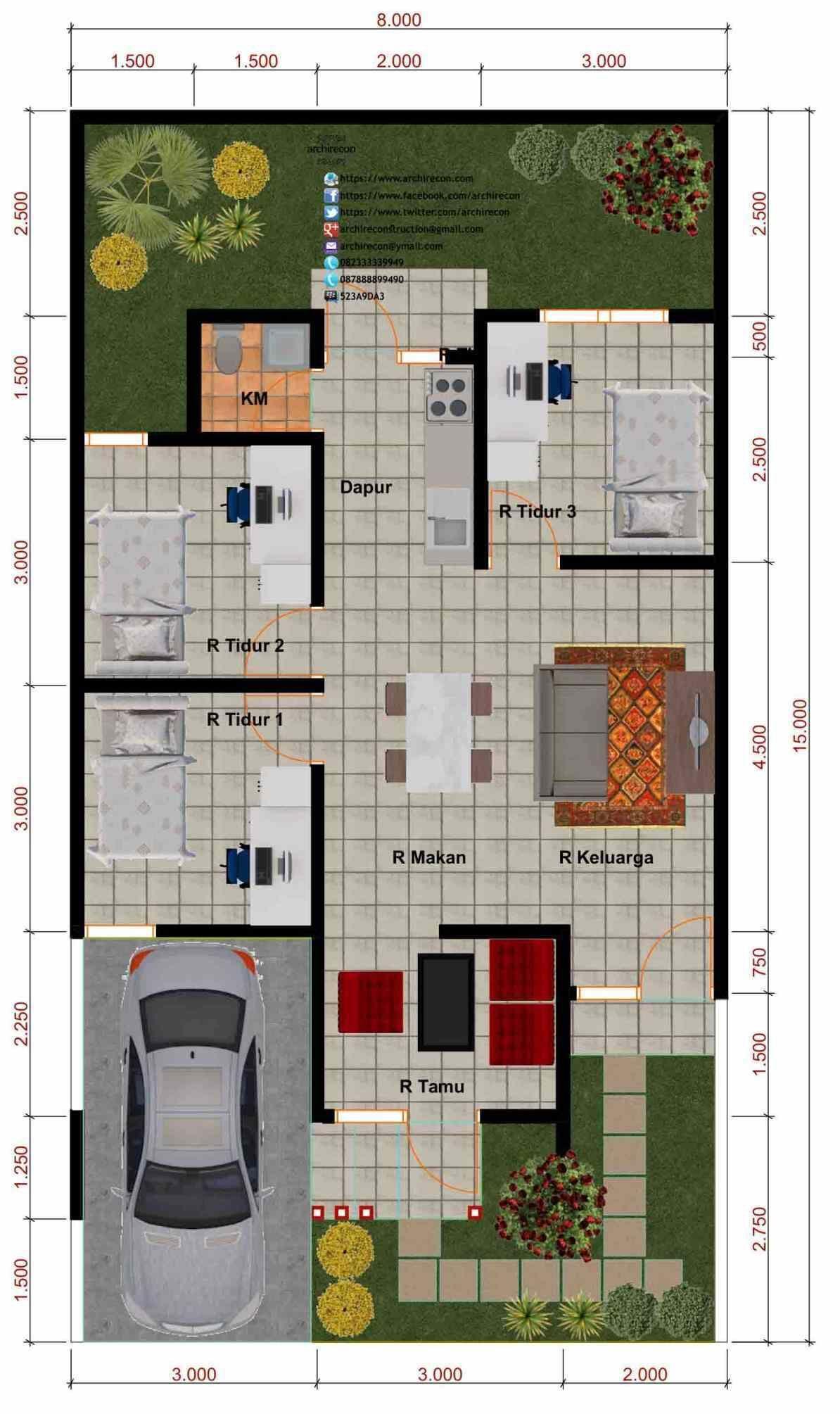 Desain Denah Rumah 3 Kamar Tidur Dan Garasi Minimalis Denah Rumah House Blueprints Desain Rumah