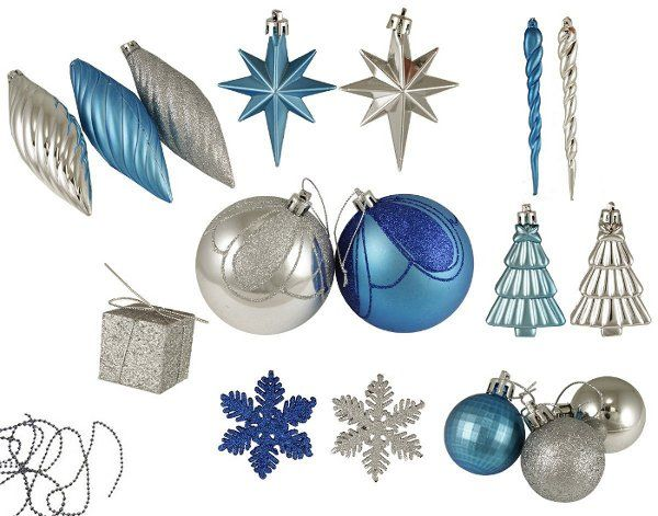 blue and silver bulk buy set of christmas tree ornaments a quick way to color scheme the tree