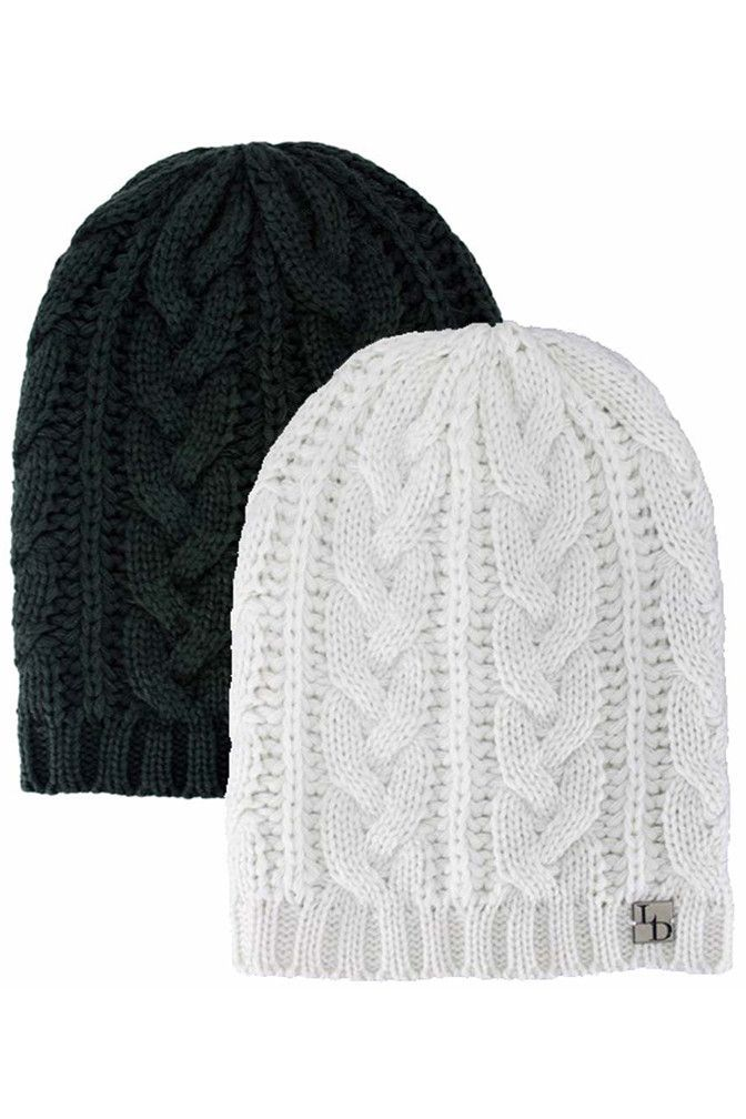 Multicolor Black Winter White 2 Pack Slouchy Cable Knit Hats ...