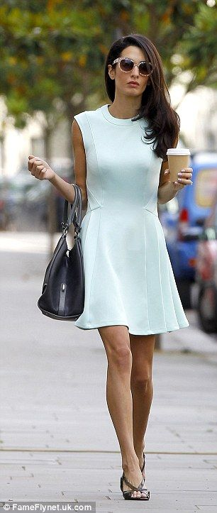 Ladies Fashion  Amal Alamuddin in mint green dress by Ted Baker  a758b17f87b2