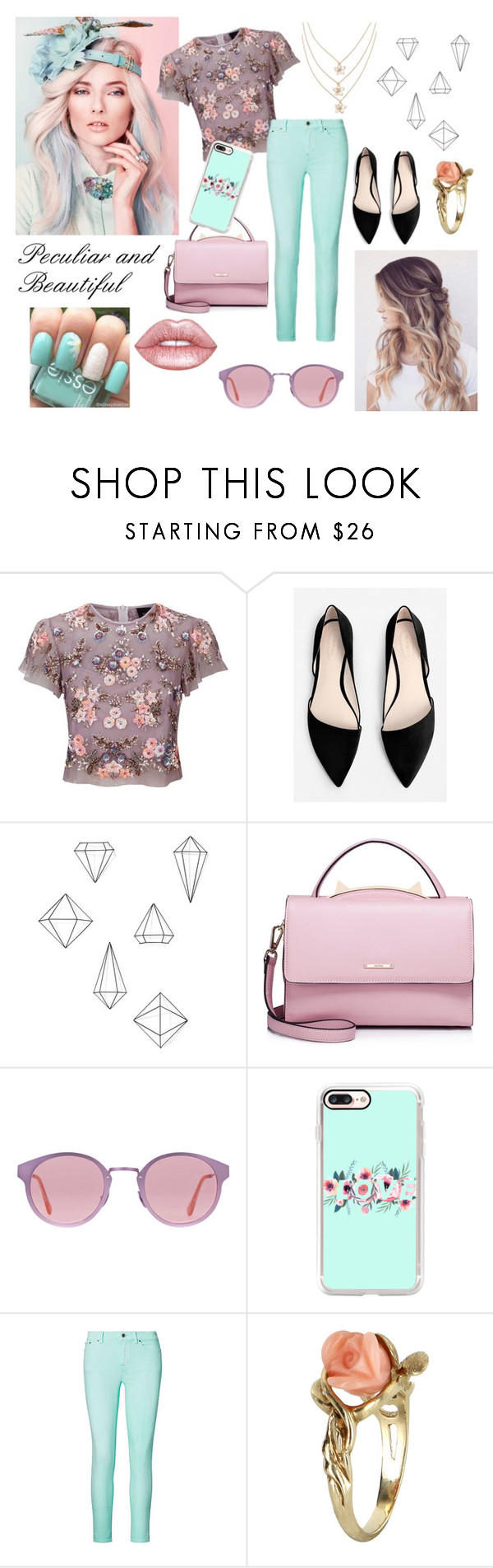 """Peculiar and Beautiful"" by merylrs ❤ liked on Polyvore featuring Needle & Thread, MANGO, Umbra, WithChic, RetroSuperFuture, Casetify, Ralph Lauren, Vintage, Lime Crime and Color"