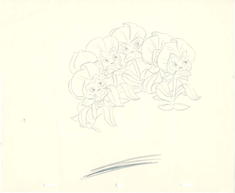 Vintage Disney Alice In Wonderland Garden Of Live Flowers Pansies Rough Animation Drawing Animated Drawings Alice In Wonderland Flowers Disney Concept Art