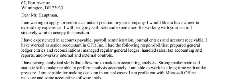 Job Cover Letter Examples Accounting  Letter Examples
