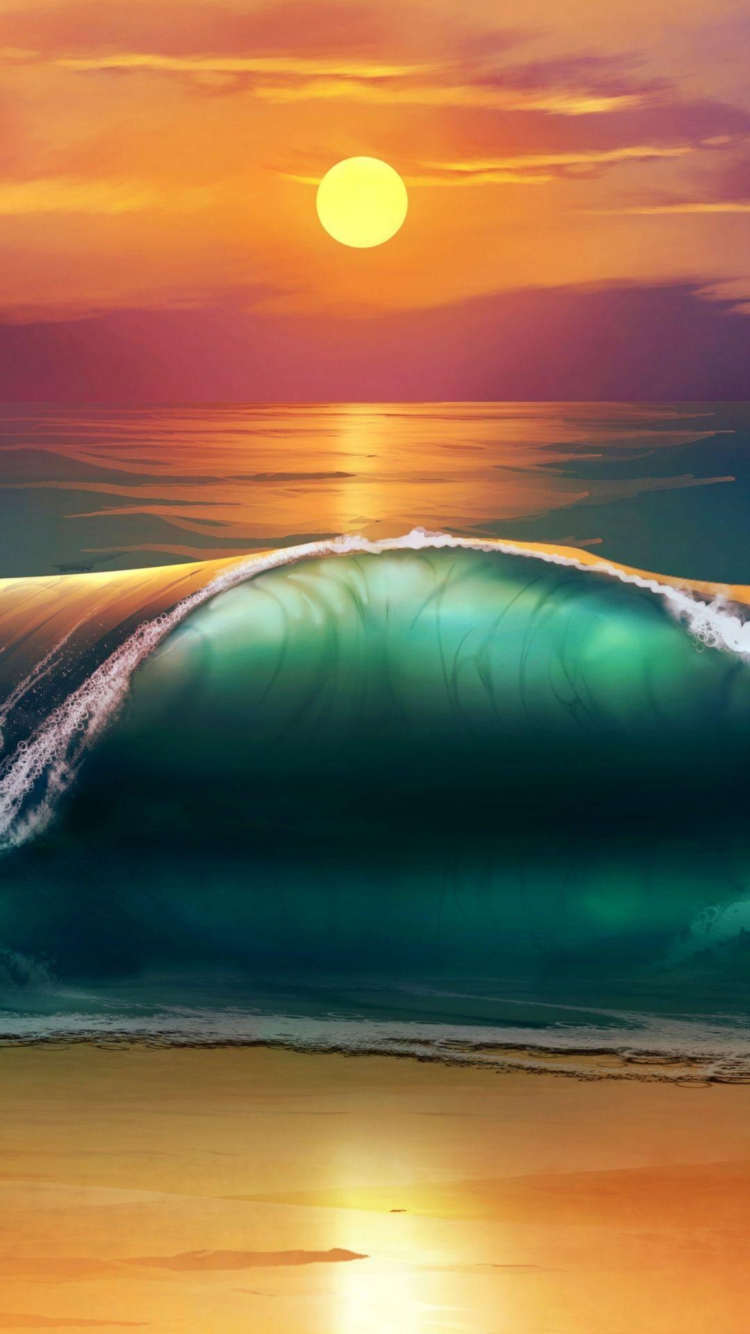 Art Sunset Beach Sea Waves Iphone 8 Wallpapers Ocean Waves