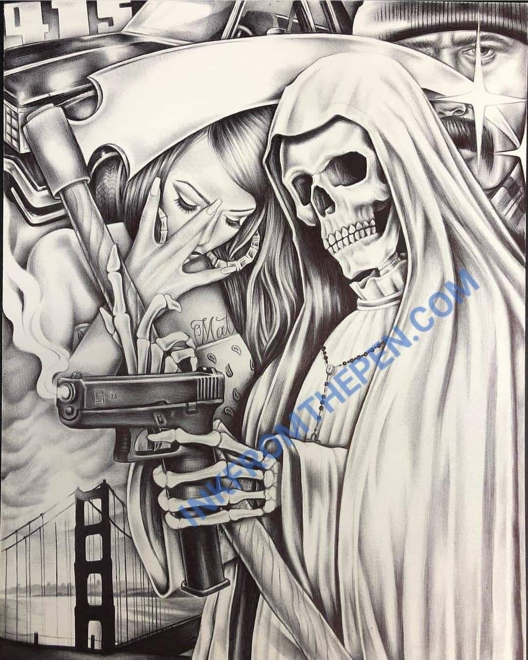 Santa Muerte Tatuagem De Palhaco Desenhos Mexicanos Fotografia