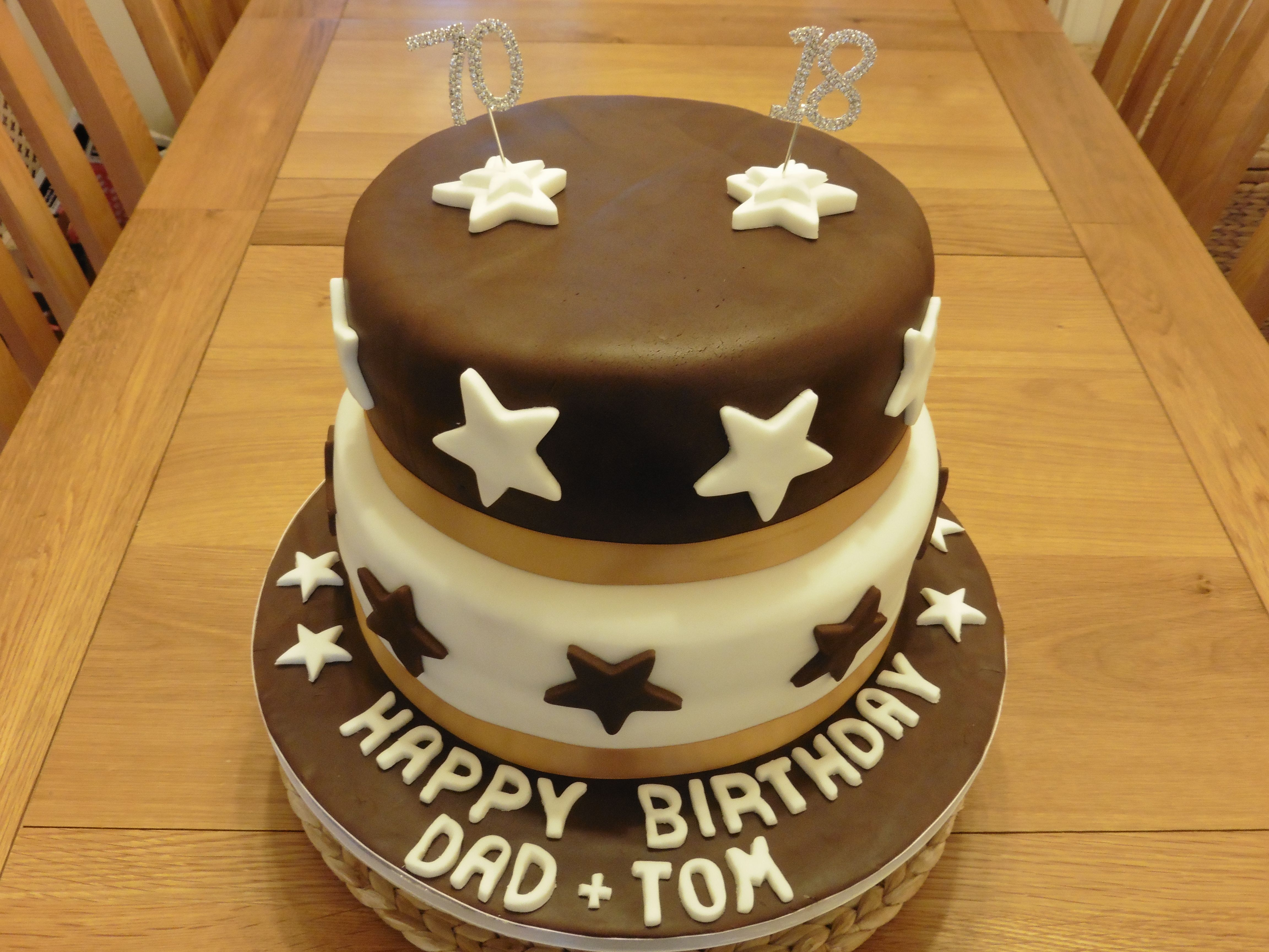 Chocolate Fudge and Vanilla Birthday Cake made for my Dad and Sons