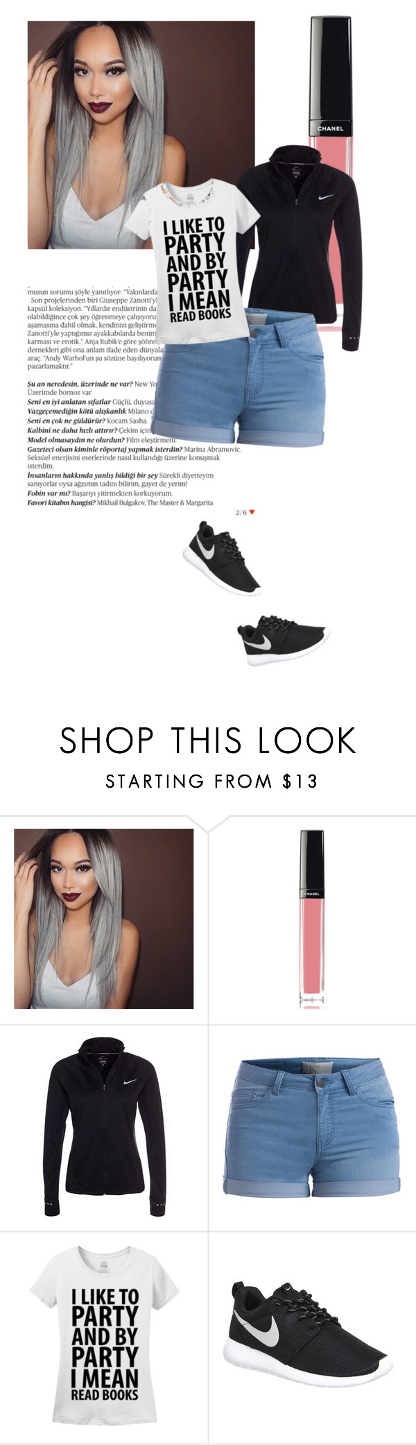 """""""Untitled #142"""" by aye-its-me-lila on Polyvore featuring Balmain, Chanel, NIKE, Pieces, women's clothing, women, female, woman, misses and juniors"""