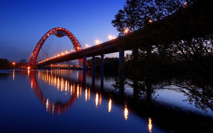 вода, свет, дорога, обои, река, деревья, небо, ночь ...