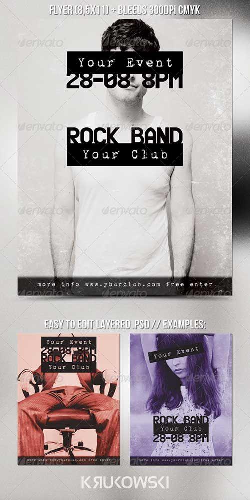 alternative indie rock club and party rock indie rock flyer ...