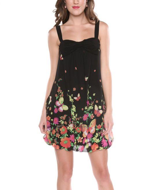 Black Flower Swing Dress