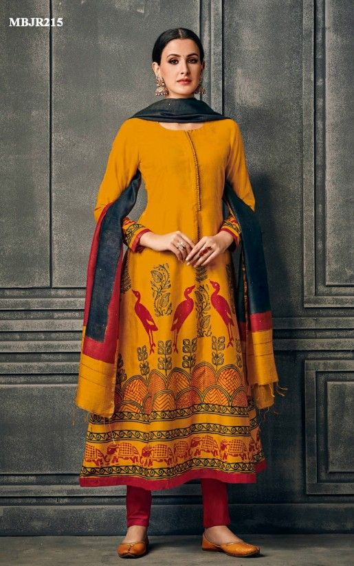 6bf8b72aeb Fire Yellow Tussar Silk Suit Set Online Shopping For Ethnic Wear: Buy  Designer Sarees,