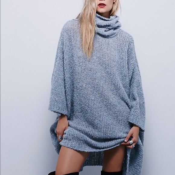 Free People Extreme Cowl Sweater in Light Blue L Boutique | Light ...