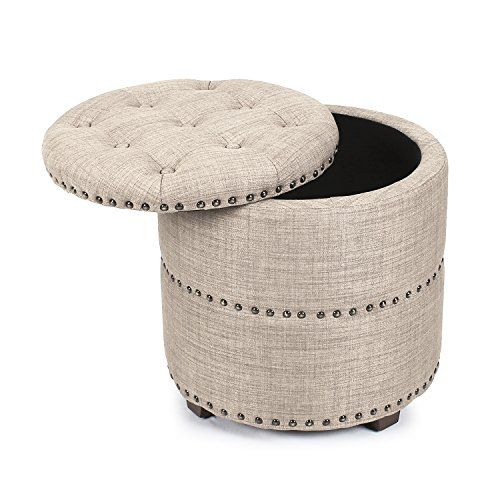 Special Offers - Joveco Modern Nailhead Trim Fabric Ottoman - In ...