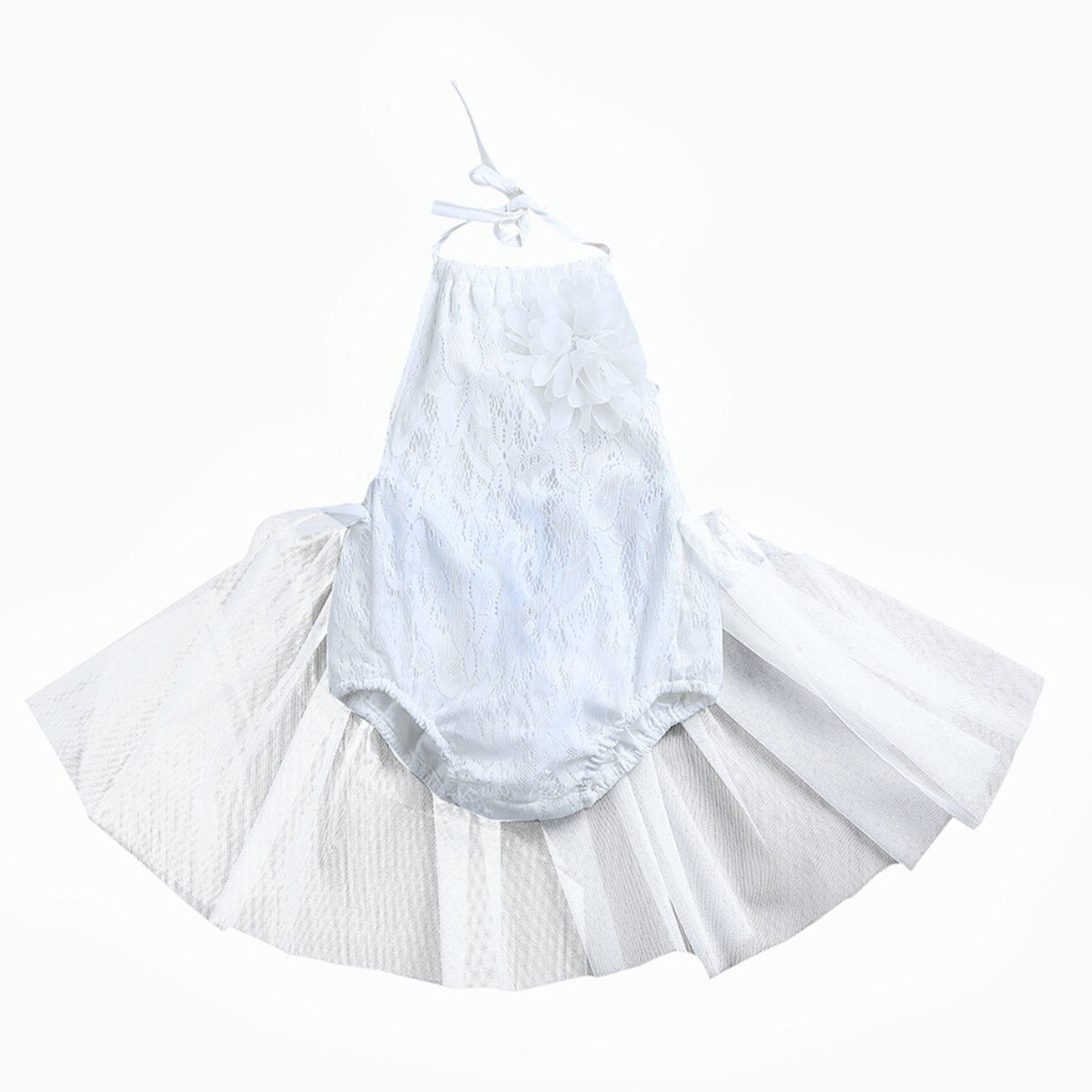 dfb41e81cf White Lace Toddler Baby Girls Sleeveless Tulle Halter Romper Jumpsuit  Clothes
