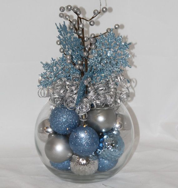 Christmas Centerpiece Ice Blue And Sapphire Holiday Decoration Christmas Home Decor Blue Christmas Decoration Hostess Gift Blue Christmas Decor Silver Christmas Decorations Silver Christmas