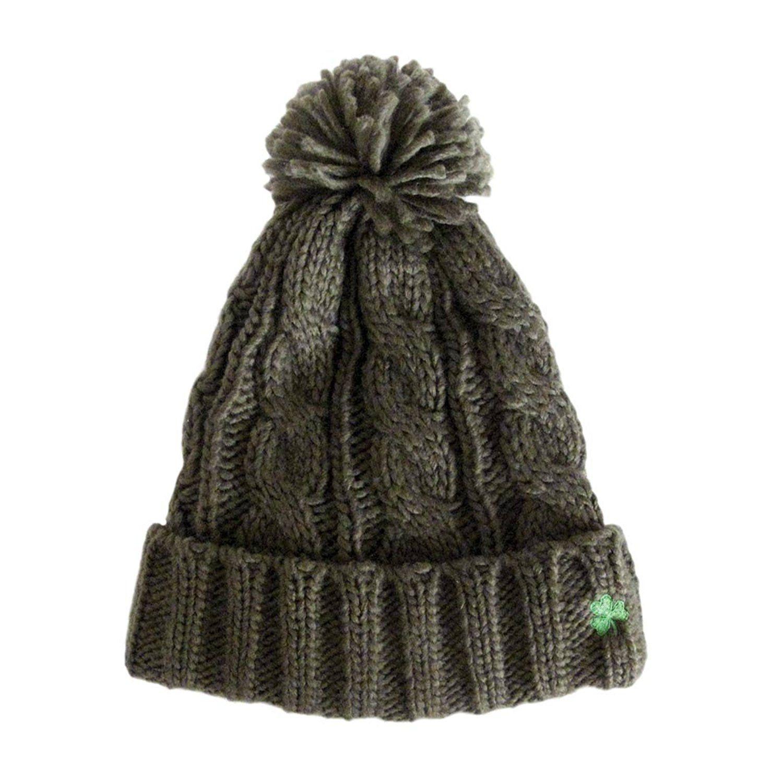 Man Of Aran Olice Green Knit Winter Hat with Tassel ** Visit the image link more details.