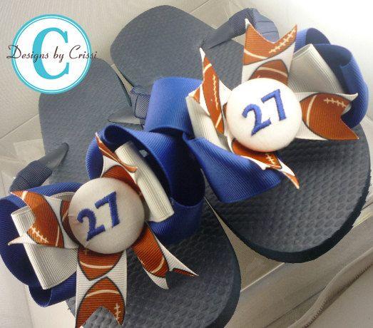 4351fd01603c Football Glitter Bow Flip Flops - Custom design your Team Sparkle ...