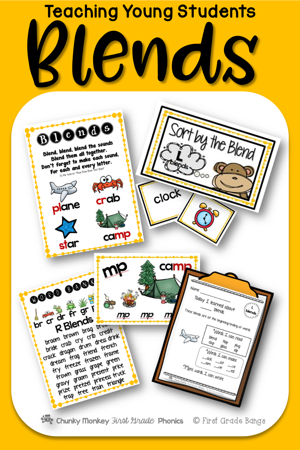 Young students love learning to read blends! This unit has everything you need to teach L blends, R blends, S blends, and final blends- from mini-lessons and word banks to independent work and literacy center activities. $