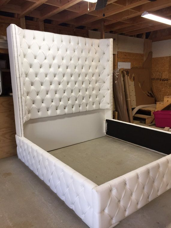 King Size Tufted Bed Luxurious Wingback Tufted Bed White Bed with ...
