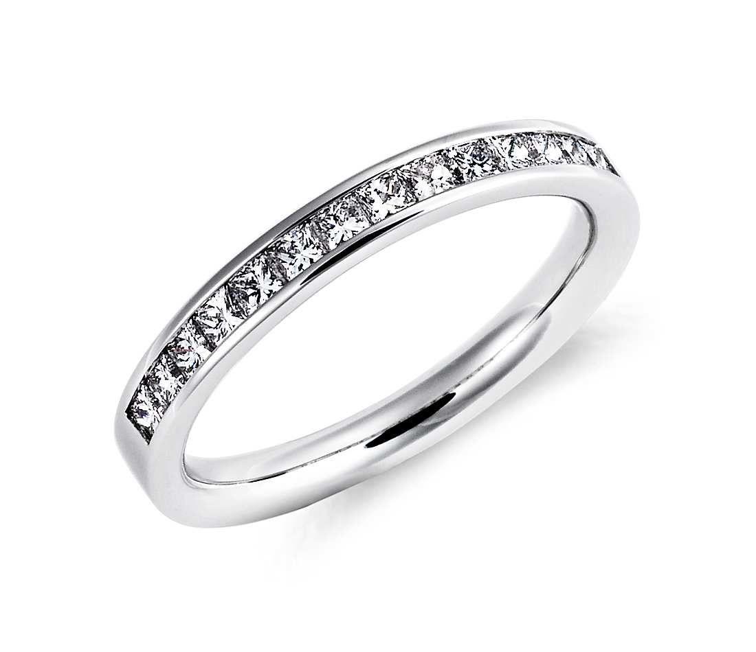 Channelset princesscut diamond ring in platinum ct tw