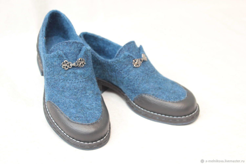 Обувь ручной работы. Ярмарка Мастеров - ручная работа. Купить Туфли валяные  женские. Handmade. Синий, обувь на заказ 5d1cb4274ce