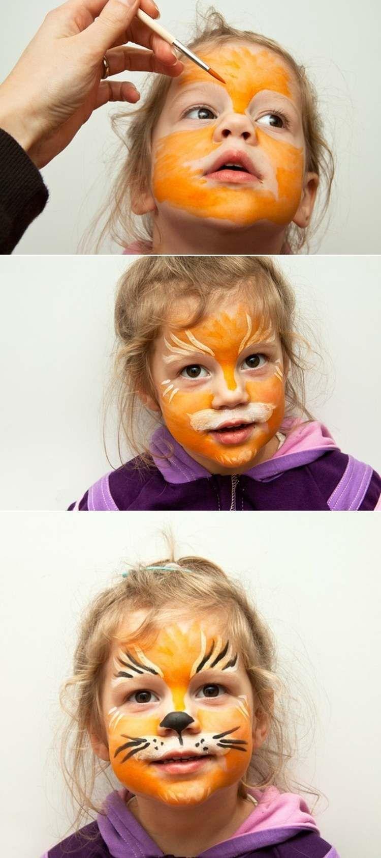 Maquillage halloween enfant id es pour vos petits monstres maquillage tigr pour filles et - Maquillage halloween facile enfant ...