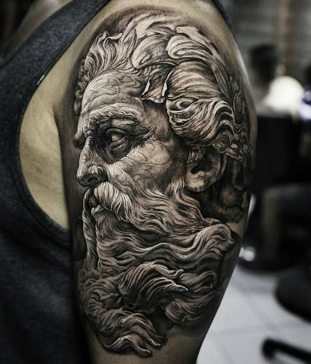 Tattoorealistic On Picoji Posts Videos Stories Picoji Tattoos Tattoodesigns Tattooideas Fantastic Piece Mythology Tattoos Zeus Tattoo Tattoos For Guys