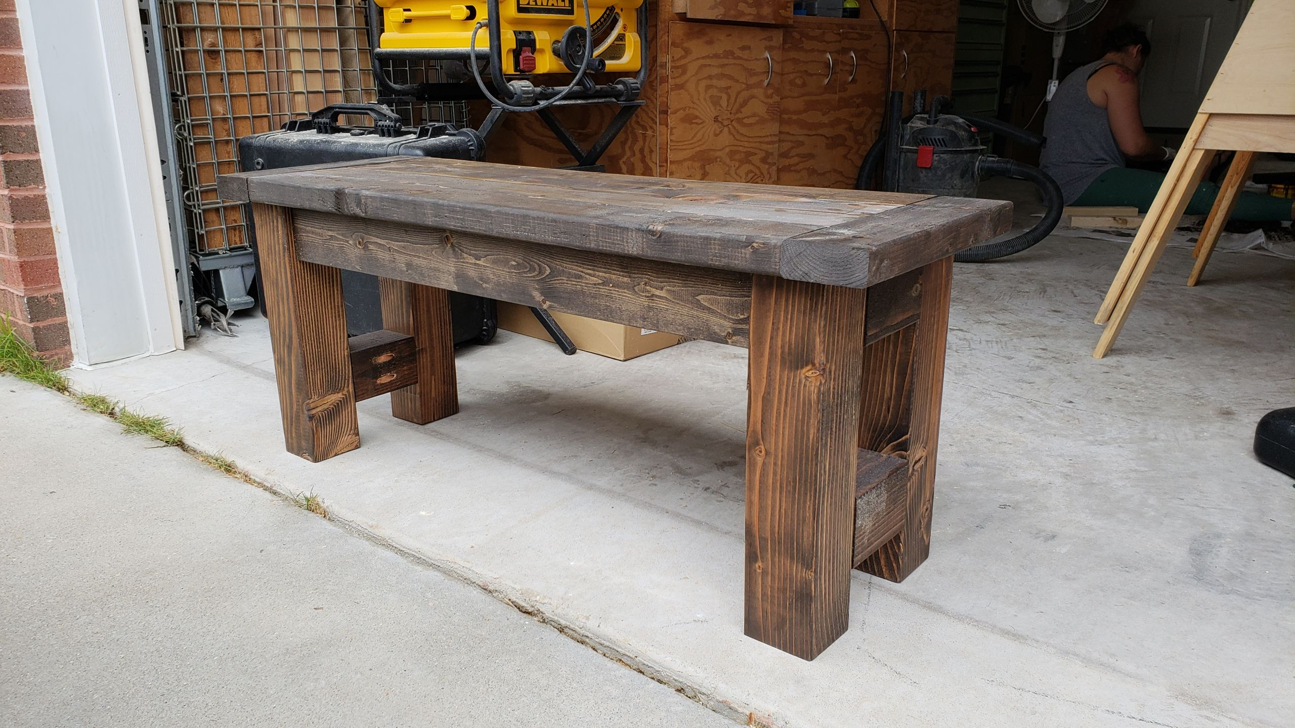 Ana white modified farmhouse bench diy projects