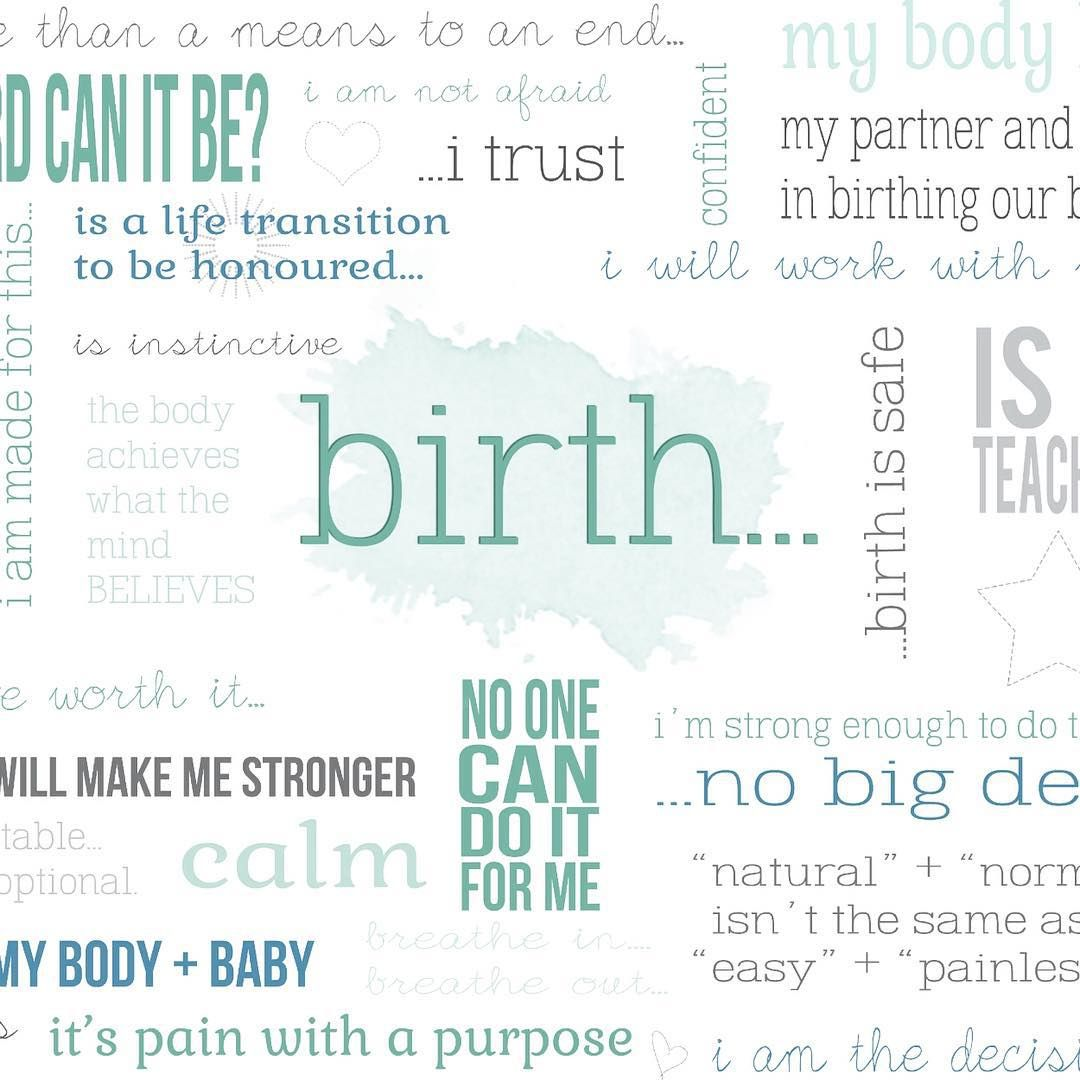 """Exploring beliefs around birth. I made this word cloud a while back and use it in my Get Glowing prenatals. It's amazing how a visual prompt like this allows you to connect with and express what's going on, sometimes things we aren't really even aware of.""  #doula #birth"