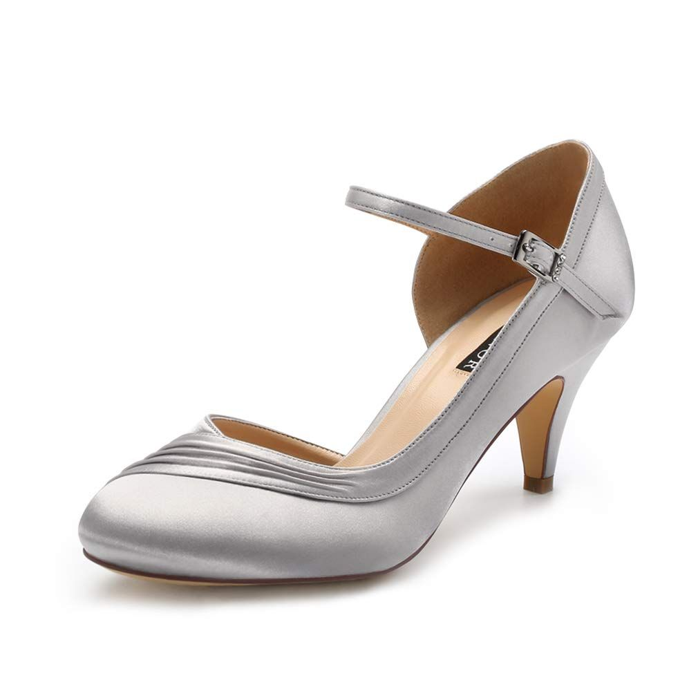 5b8aad981cd410 ERIJUNOR E2699 Kitten Heels for Women Comfortable Low Heel Closed Toe Satin  Evening Dress Wedding Shoes with Ankle Strap Silver Size 8 >>> Be sure to  check ...