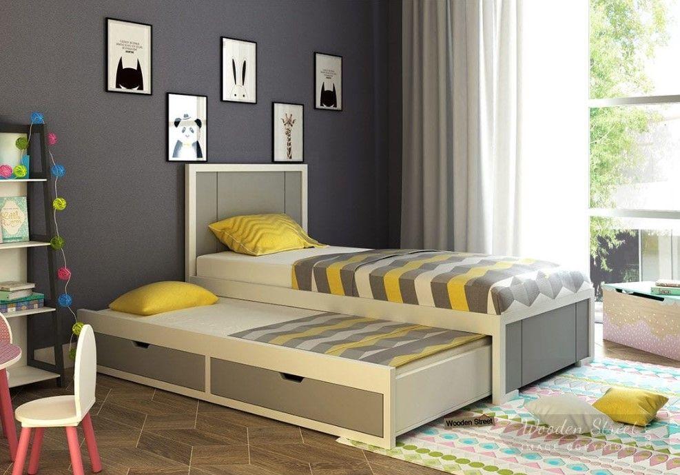 Best Buy Gary Kids Bed With Storage Grey White Online In 400 x 300