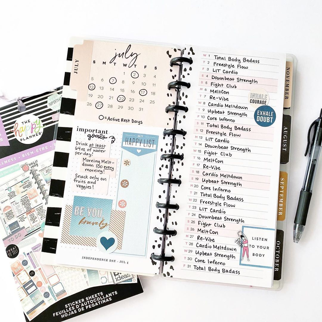 "Natasha Goldstein on Instagram: ""I'm all set up for July in my new wellness/fitness planner! I can't really think of a better way to hold myself accountable for my daily…"" -   fitness Planner mambi"