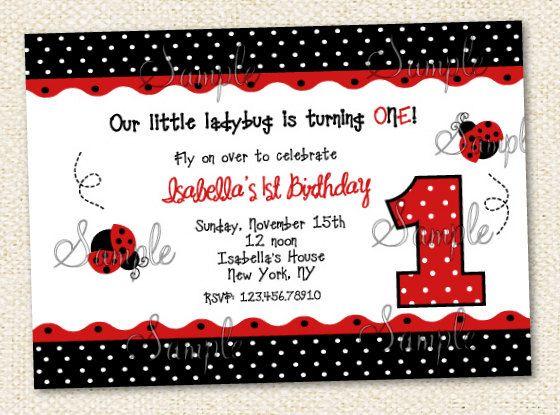 Ladybug Birthday Invitation Ladybug birthday invitations Ladybird