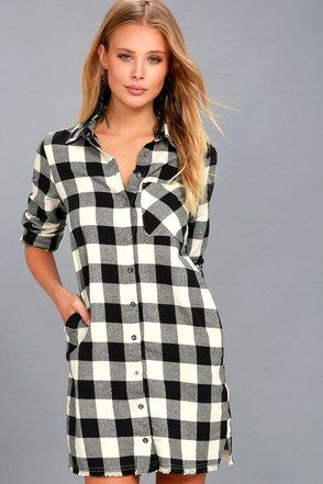 b38de4eae99 Neck of the Woods Black and White Plaid Shirt Dress 3 | My Style in ...