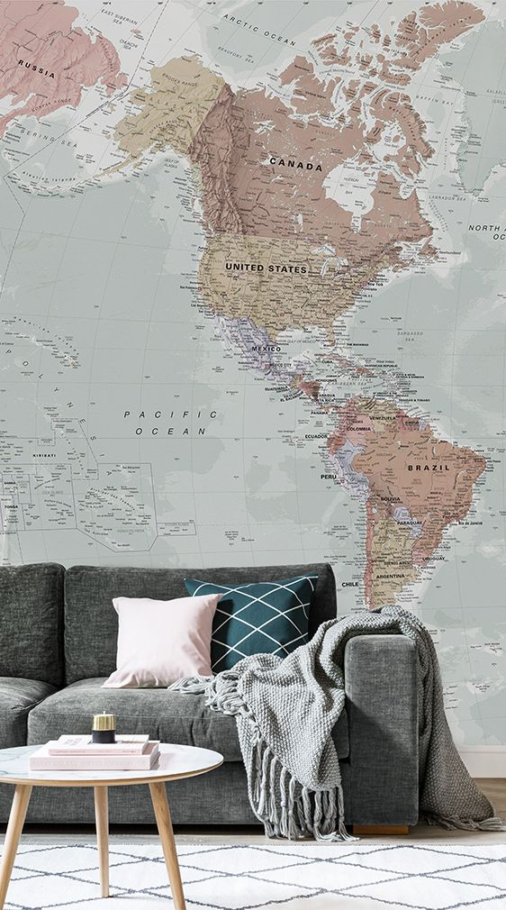 Classic world map wallpaper stylish map mural muralswallpaper our classic world map mural is a beautiful design that is akin to old retro style textbook maps combining wonderful colour with superb detail all over gumiabroncs Choice Image