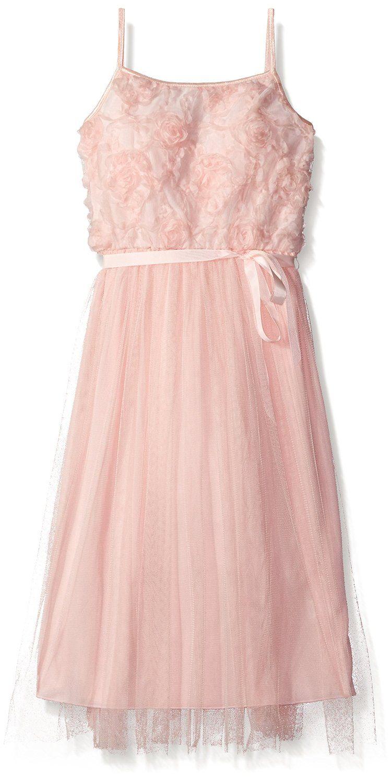 3b1178e74038d Amazon.com  Big Girls Sleeveless Soutache To Mesh Maxi Dress with Ribbon  Blush 10  Clothing