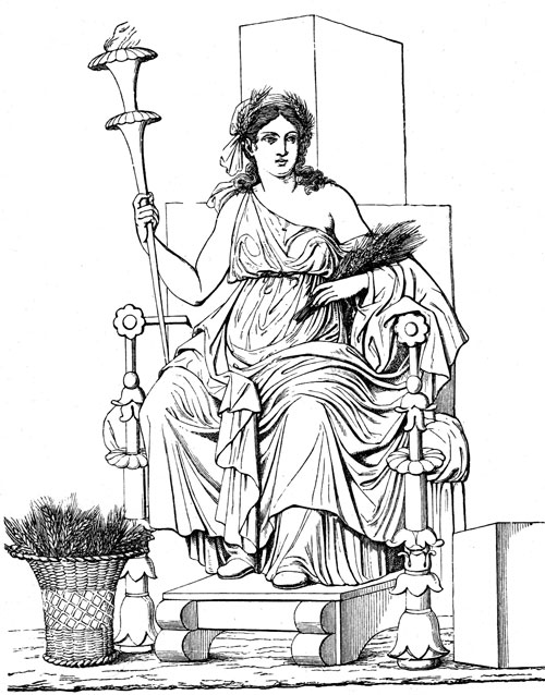 Deméter; dibujo según un relieve de Pompeya | Vocabulario de ...